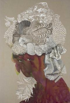 "Firelei Báez - ""Sans-Souci"" (2015), acrylic and ink on linen, 108 x 74 inches (274.3 x 188 cm)"