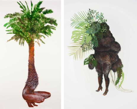 Firelei Báez - Left - 'Wanderlust Demanding Recompense' (2016), acrylic and ink on paper, 93 x 52 inches (236.2 x 132.1 cm) - Right - 'Ciguapa Pantera' (2015), acrylic and ink on paper, 95 x 69 inches (241.3 x 165.1 cm)