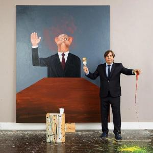 George Condo in his New York studio