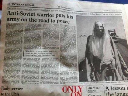 """""""Il guerriero antisovietico mette il suo esercito sulla strada della pace"""". Articolo tratto da The Independent su Osama Bin Laden. 1993"""