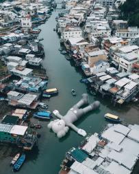 "Inflatable test for KAWS: ""Kaws Holiday"" in Hong Kong"