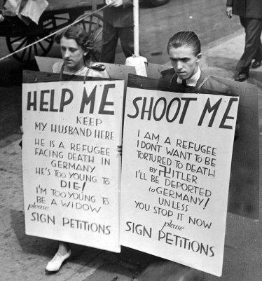 Popolo ebreo che protesta a Ellis Island contro la propria deportazione in Germania, 1936