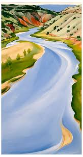 Georgia O'Keeffe, Chama River, Ghost Ranch, 1937. Oil on canvas; 30-1/4 x 16 in. New Mexico Museum of Art; Gift of the Estate of Georgia O'Keeffe, 1987 (1987.312.1). © New Mexico Museum of Art