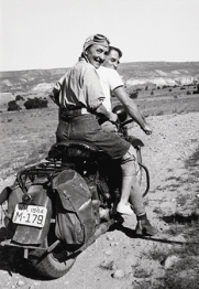 Georgia O'Keeffe hitching a ride to Abiquiu. Courtesy of the O'Keeffe Museum