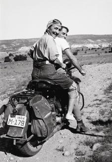 Georgia O'Keeffe hitching a ride to Abiquiu. Courtesy of the O'Keeffe Museum