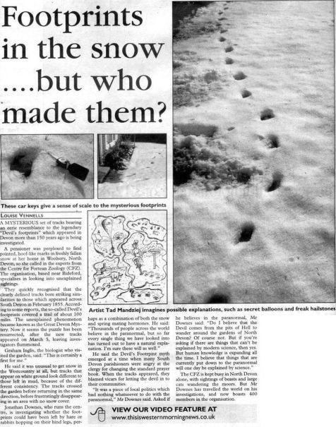 """Il fenomeno """"Le impronte del diavolo"""" o la bufala iniziò l'8 febbraio 1855 a Devon, in Inghilterra"""