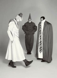 Are Your Dreams at Night 3 Sizes Too Big - The Grey World Citizens (from left Joshua Lacey, Leon Cooke, and Paul Hilton), in mega- or mini-proportioned garb by Lindsay and the rest of wonder.land's costume team, embrace the surreal feel