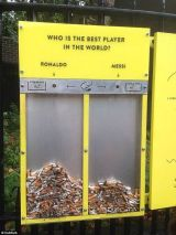 Hubbub, an environmental charity in the UK, wants to encourage people to dispose of their garbage in a proper manner. So it created a series of urban trash cans that make disposing of litter fun. In this case, people can vote with their cigarette butts for whom they think is the greatest soccer player in the world: Lionel Messi or Cristiano Ronaldo. The managers can also swap out the question for others that encourages debate and thus proper garbage disposal.