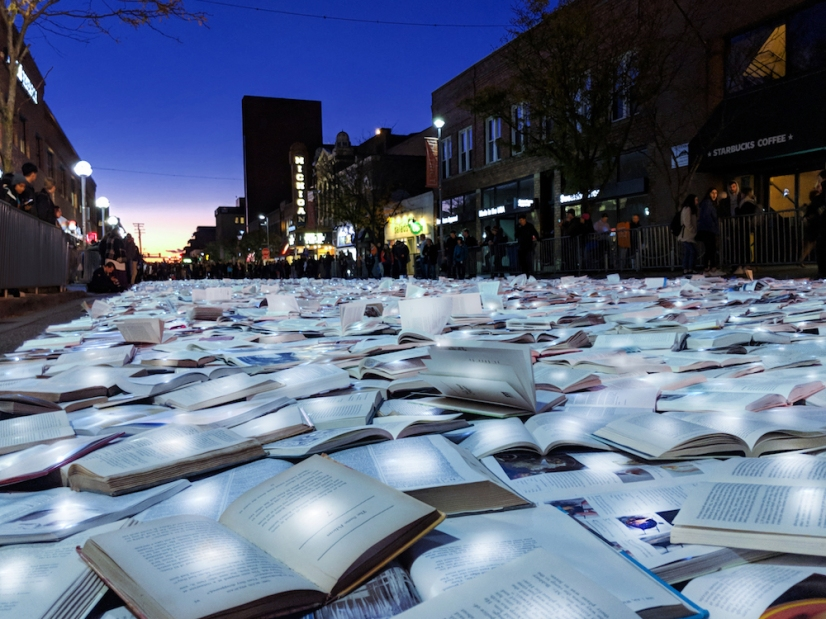 """Literature vs Traffic"" by Luzinterruptus @ Ann Arbor, USA"