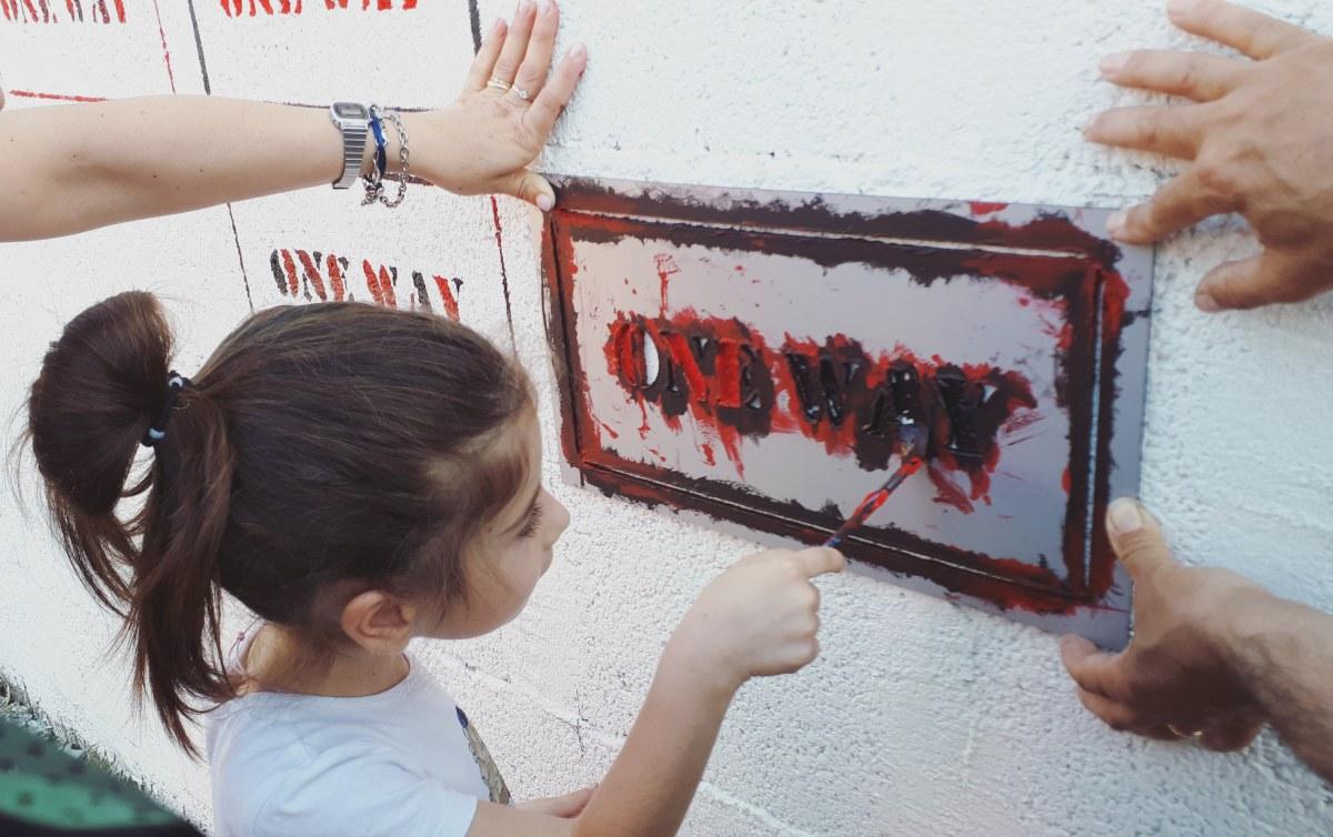 Festival Sant'Arte a San Sperate - Murale partecipato per il progetto One Way di Leonardo Boscani e Rita Delogu
