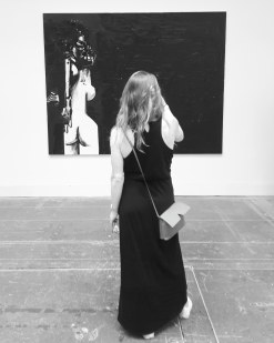 """""""Standing female figure in black space"""" (2018) by George Condo"""