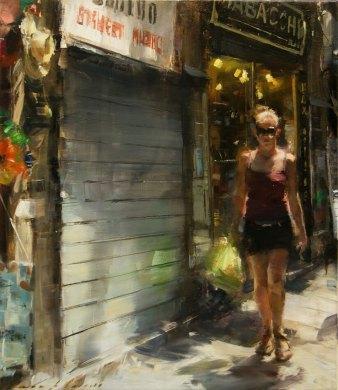 """Little green bag"" 46x53cm, oil on canvas by Simon Pasini"