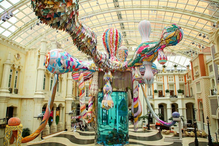 Installation view: Joana Vasconcelos: Valkyrie Octopus at MGM MACAU, 2015