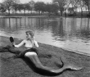 Attrice vestita da sirena nel Regent's Park di Londra, 1953