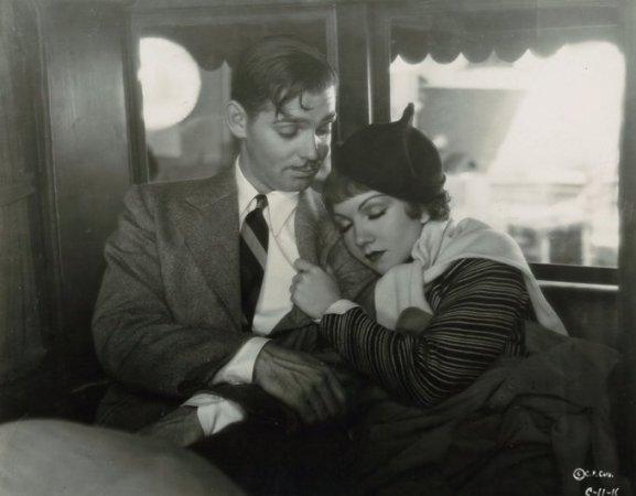 Clark Gable e Claudette Colbert in It Happened One Night, 1934