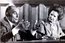 Margaret Thatcher e François Mitterrand a Londra - 1984