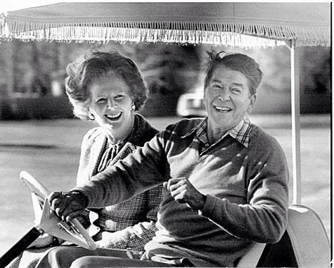 Margret Thatcher e Ronald Reagan