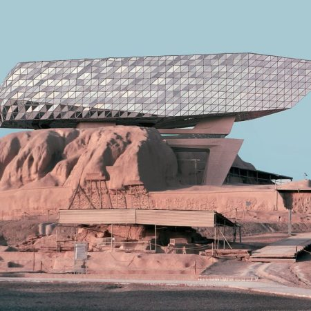 Mohammad Hassan Forouzanfar - Zaha Hadid's Port House over Tepe Sialk in Kashan