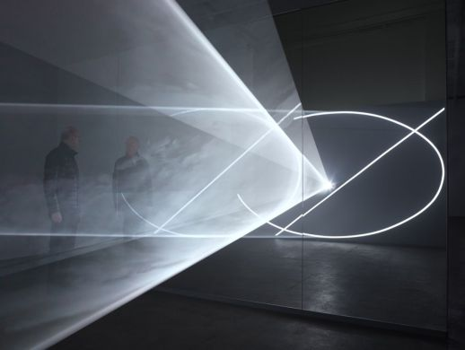 "Anthony McCall. ""Split Second (Mirror)"" (2018). Installation view, Sean Kelly, New York, 2018. Photograph by Daniel Bradica."