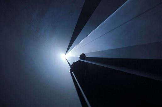 """Anthony McCall. """"You and I Horizontal"""" (2005). Installation view at Institut d'Art Contemporain, Villeurbanne, France (2006). Photograph by Blaise Adilon."""
