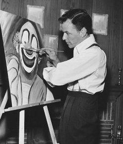 Frank Sinatra, dipinto di un clown