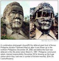 Il busto gigante del dittatore delle Filippine Ferdinand Marcos