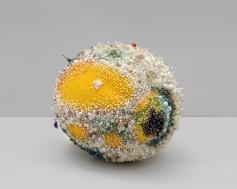 """Emerald City"" (2019), amazonite, onyx, quartz, rose quartz, turquoise, emerald, jasper, serpentine, smokey quartz, olive jade, fluorite, amethyst, tree agate, Ching Hai jade, lapis lazuli, agate, Russian serpentine, marble, ruby in zoisite, abalone shell, bone, coral, freshwater pearl, glass, steel pins on coated polystyrene, 18 x 29 x 20 in"