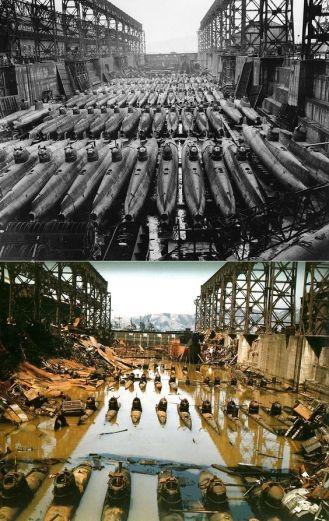 """Alcuni 80 Tipo giapponese D ( """"Koryu"""") midget sottomarini (o mini sottomarini) in un bacino di carenaggio a Kure. Prima e dopo i bombardamenti alleati."""