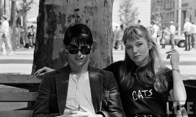 """Tom Cruise e Rebecca De Mornay sul set di """"Risky Business"""", 1983"""