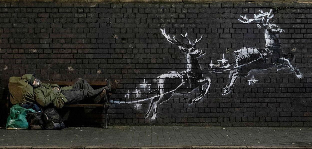 Christmas Mural by Banksy @ Birmingham, UK
