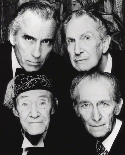 Christopher Lee, Vincent Price, John Carradine e Peter Cushing, 1983