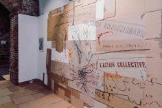 Gabriella Ciancimino, Sea Seeds:Si Siz, 2019, tecnica mista su carta e cartone, disegno a parete, veduta dell'installazione presso il Museomontagna. Courtesy l'artista e Galleria Gilda Lavia, Roma
