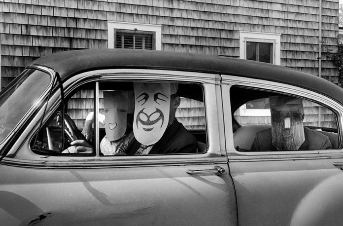 Inge Morath - Untitled. (from the Mask Series with Saul Steinberg), 1962. Photograph by Inge Morath/MAGNUM PHOTOS. Mask by Saul Steinberg © The Saul Steinberg Foundation/ARS, NY