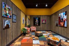 """Installation view of Mickalene Thomas, """"Better Nights ,"""" at The Bass Museum of Art, Miami Beach, 2019. Photo by Zachary Balber. Courtesy of The Bass"""