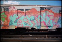 LEE (Lee Quinones), wild style on a subway car (1977). Photo: Don 1. Courtesy of the Museum of Graffiti