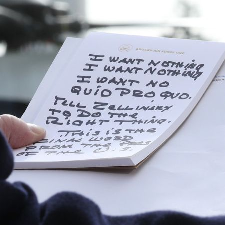 WASHINGTON, DC - NOVEMBER 20: U.S. President Donald Trump holds his notes while speaking to the media before departing from the White House on November 20, 2019 in Washington, DC. President Trump spoke about the impeachment inquiry hearings currently taking place on Capitol Hill. (Photo by Mark Wilson/Getty Images)