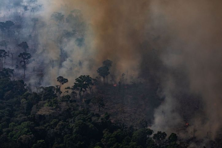 PORTO VELHO, RONDONIA, BRAZIL, AUGUST 25th: A fire burns in a section of the Amazon rainforest on August 25, 2019 in Porto Velho, Brazil. According to INPE, Brazil's National Institute of Space Research, the number of fires detected by satellite in the Amazon region this month is the highest since 2010. (Photo by Victor Moriyama/Getty Images)