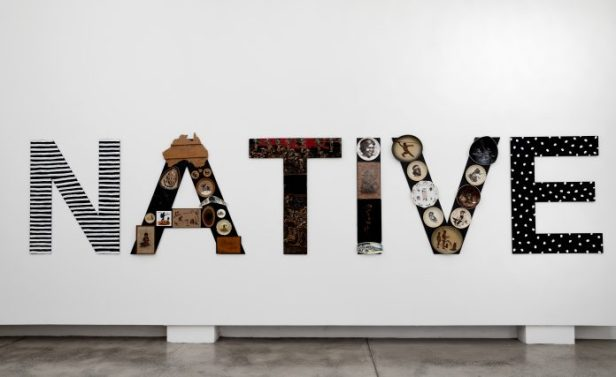 Tony Albert NATIVE, 2019, acrylic and found vintage objects applied to plastic-polyester, powder-coated aluminium, 120×550 cm, courtesy l'artista e PAC