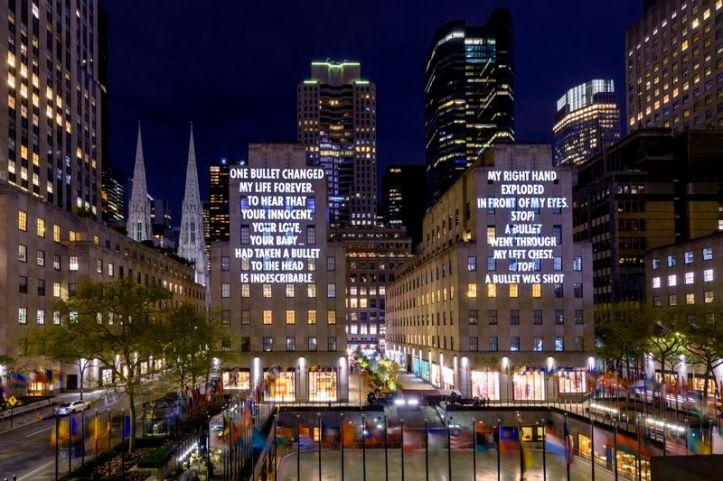 Vigil by Jenny Holzer @ Rockefeller Center, New York City