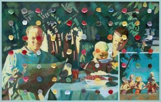 Ilya Kabakov, Holiday#5, 2014, olio su tela, 100,5x160x8 cm, Collezione Ernesto Esposito (Napoli)