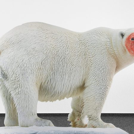 Katja Novitskova, Approximation (polar bear) 2017, digital print on aluminum, cutout display, acrylic glass, 148x226x38 cm. Collezione Sandretto Re Rebaudengo