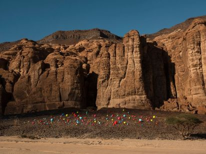 Mohammed Ahmed Ibrahim's Falling Stones Garden. Photo- Lance Gerber. Courtesy of the artist, RCU and Desert X