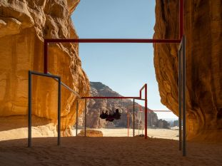 Superflex's One Two Three Swing!. Photo- Lance Gerber. Courtesy of the artist, RCU and Desert X