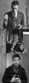 Tre generazioni di selfie, tutti all'età di 23 anni