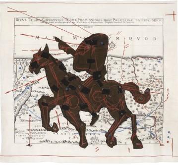 William Kentridge, Promised Land (Situs Terrae Canaan, sive Terrae Promissionis, hodie Palaestinae, Santissime Bibliorum), 2008, Arazzo, 300x335 cm, Collezione Gemma De Angelis Testa (Milano)