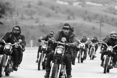 Hell Angels of San Bernardino cruise north towards Bakersfield, California, 1965 Photograph: Bill Ray/Life/Courtesy of Monroe Gallery