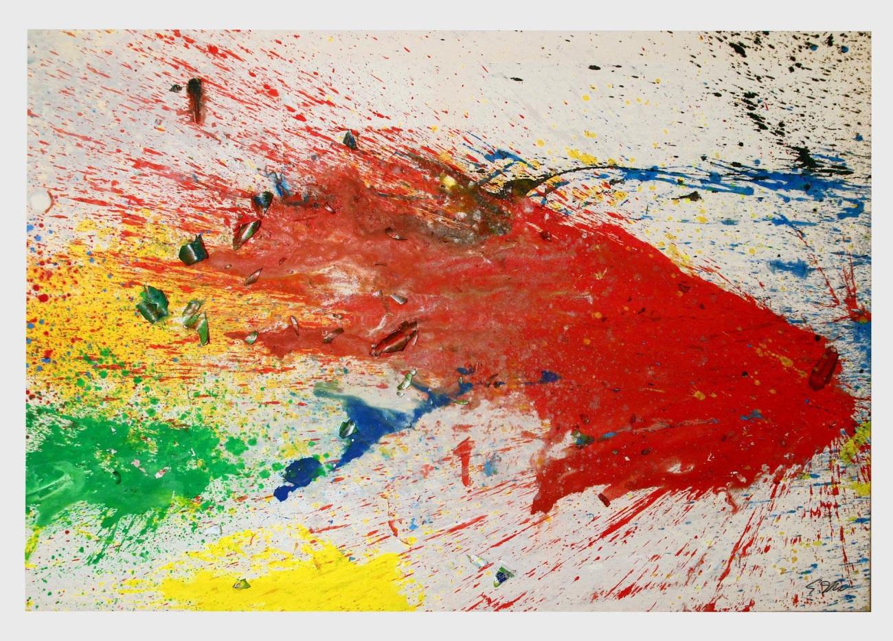 Shozo Shimamoto, Capri - Certosa 13 (2008), acrylic on light canvas, 185 x 274 cm. Courtesy Cardi Gallery