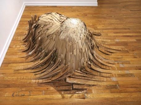"""Untitled (Flooring)"" (2016-2017), flooring, shims, plaster, at Catinca Tabacaru Gallery in New York City"