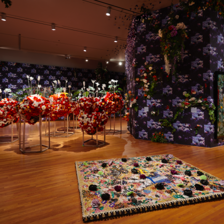 """Installation view of """"Ebony G. Patterson: … while the dew is still on the roses… """". © Ebony G. Patterson. All work courtesy of the artist and Monique Meloche Gallery, Chicago. Photo by Sarah Lyon."""