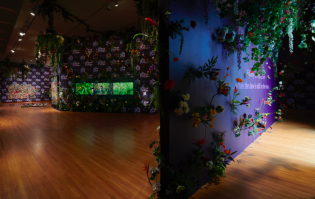 "Installation view of ""Ebony G. Patterson: … while the dew is still on the roses… "". © Ebony G. Patterson. All work courtesy of the artist and Monique Meloche Gallery, Chicago. Photo by Peter Paul Geoffrion."